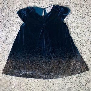 Zara Blue Velvet with gold dust Toddler Dress NWOT